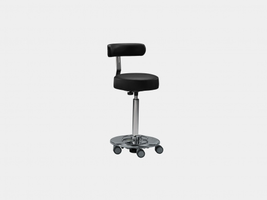 Mobile OR stool with back rest