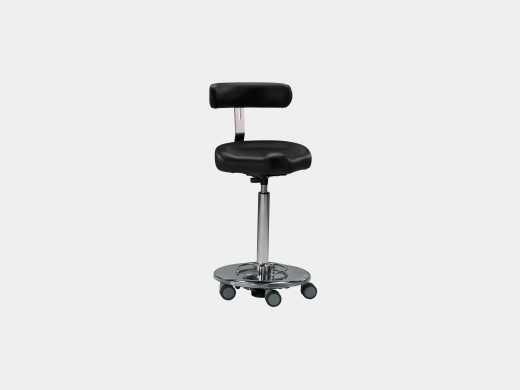 Mobile OR stool with back rest and saddle seat