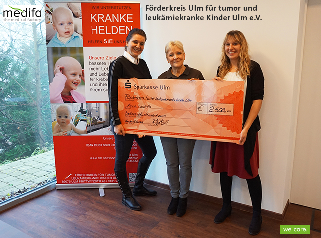 We care – Donation to the Förderkreis Ulm für tumor und leukämiekranke Kinder Ulm e.V.